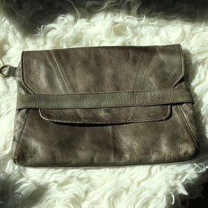 Handbags - Gray, genuine leather clutch NWOT